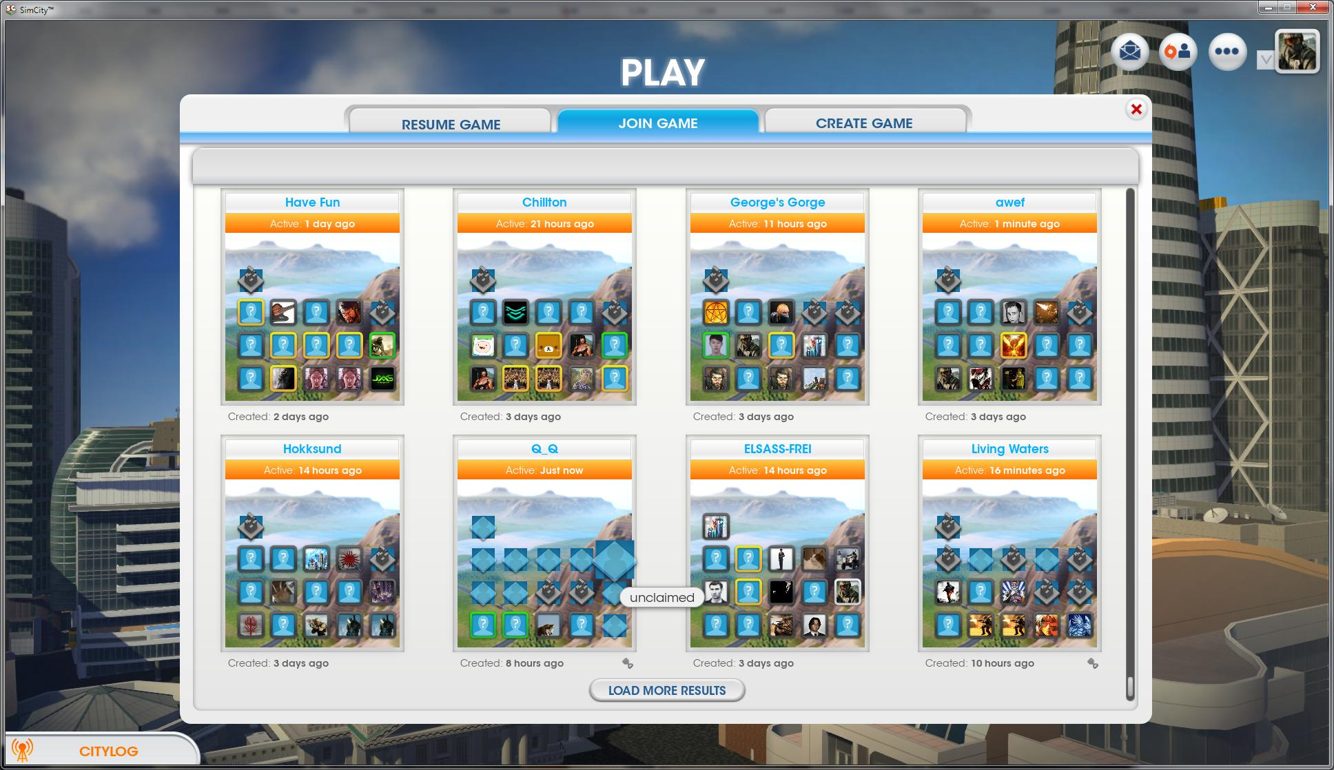 SimCity Mod Shows Abandoned/Unclaimed Cities in Region Selection Menu