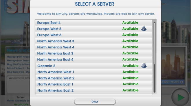 Simcity Server selection