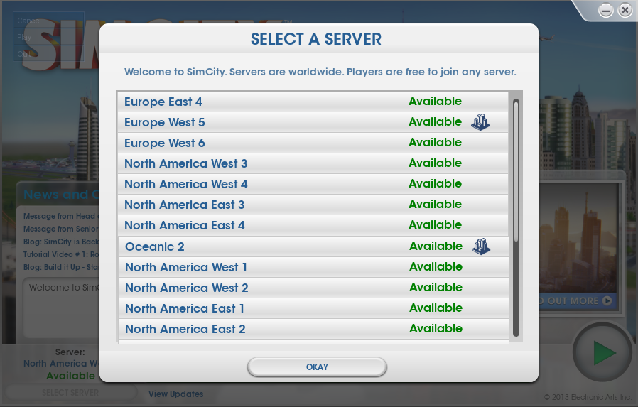 Simcity v1.4 Patch Displays Which Servers Your Cities Are On