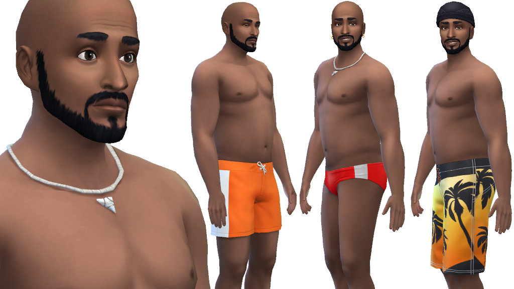 Men can wear board shorts speedos and a shark tooth necklace