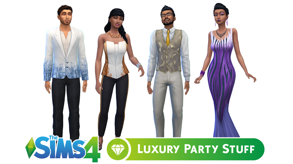 Luxury Party Stuff Hairstyles and Clothing in The Sims 4