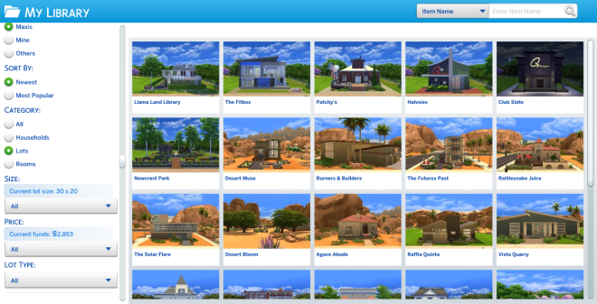 Sims 4 Pre-created Maxis Lots