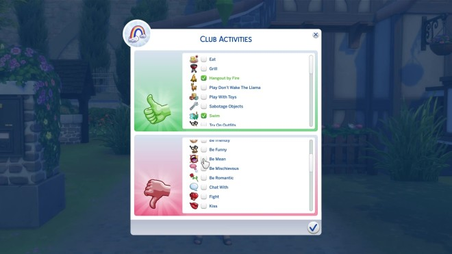Sim 4 Club Activities