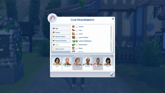 Sims 4 Club Requirements