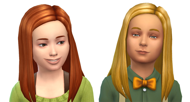 Sims 4 Child Long Straight Hair