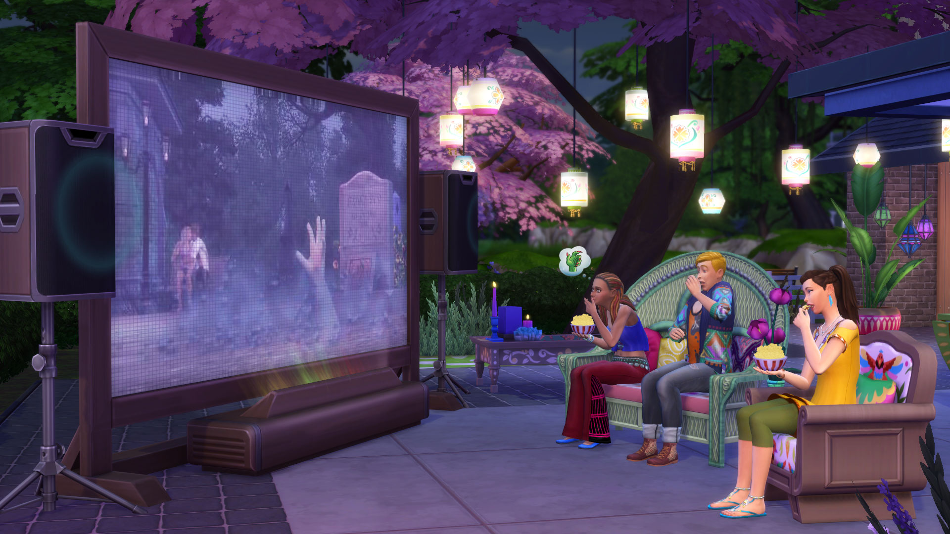 watch movies and chill in the sims 4 movie hangout stuff