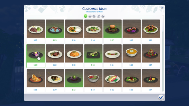 Sims 4 Dine Out Customize Menu