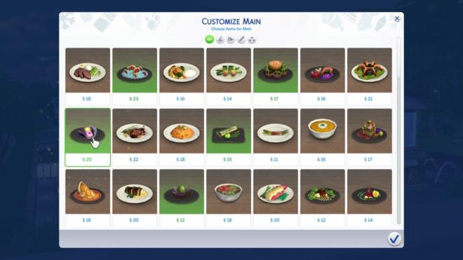 Sims 4 Dine Out Customize Menu