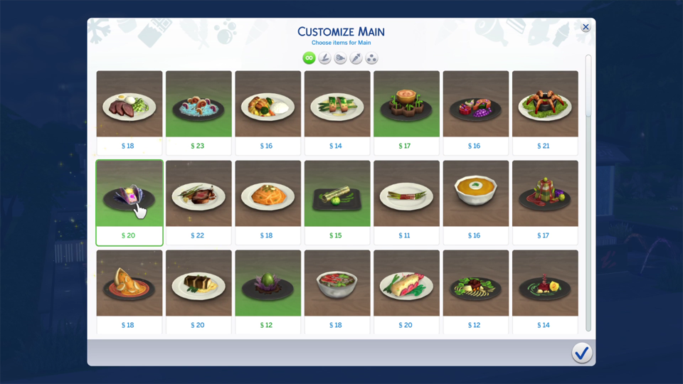 Sims  Dine Out Food List