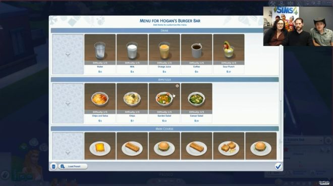 Sims 4 Dine Out Menu